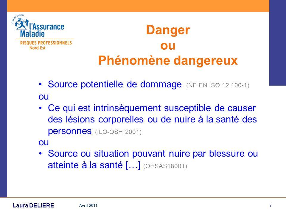 8 Avril 2011 Laura DELIERE Situation dangereuse ou Exposition Rapprochement entre une personne et un phénomène dangereux.