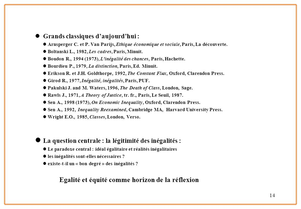 14 l Grands classiques daujourdhui : lArnsperger C. et P. Van Parijs, Ethique économique et sociale, Paris, La découverte. lBoltanski L., 1982, Les ca