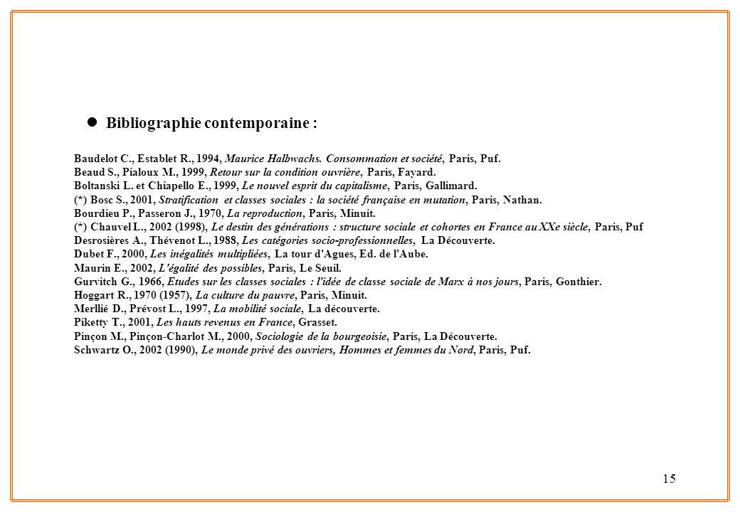 15 l Bibliographie contemporaine : Baudelot C., Establet R., 1994, Maurice Halbwachs. Consommation et société, Paris, Puf. Beaud S., Pialoux M., 1999,