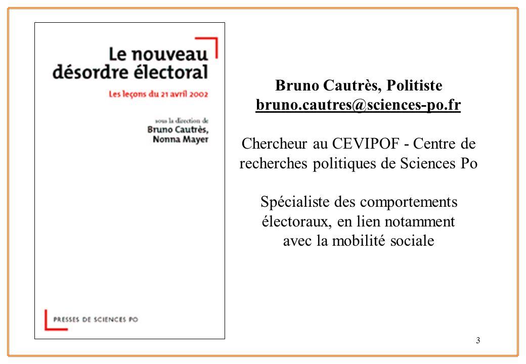 3 Bruno Cautrès, Politiste bruno.cautres@sciences-po.fr Chercheur au CEVIPOF - Centre de recherches politiques de Sciences Po Spécialiste des comporte