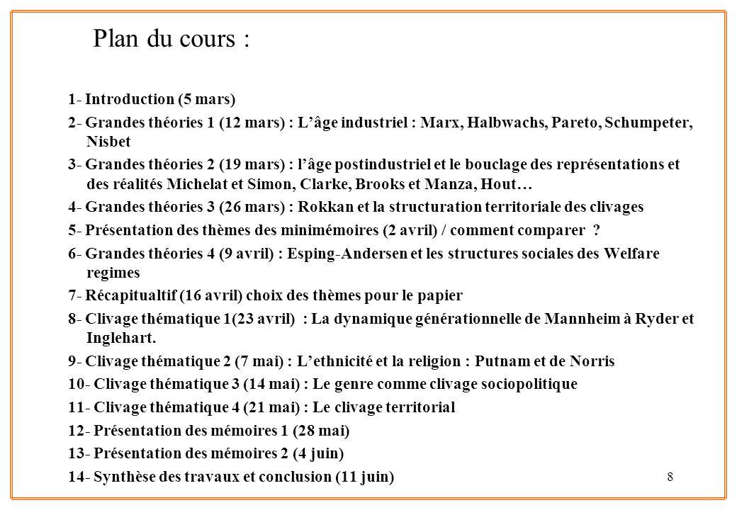 8 Plan du cours : 1- Introduction (5 mars) 2- Grandes théories 1 (12 mars) : Lâge industriel : Marx, Halbwachs, Pareto, Schumpeter, Nisbet 3- Grandes