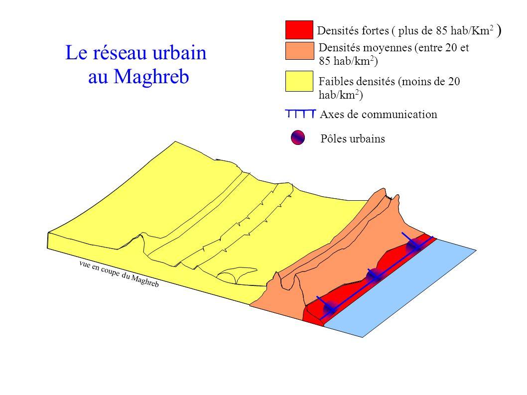 Faibles densités (moins de 20 hab/km 2 ) Densités fortes ( plus de 85 hab/Km 2 ) Densités moyennes (entre 20 et 85 hab/km 2 ) Axes de communication Pôles urbains vue en coupe du Maghreb Le réseau urbain au Maghreb