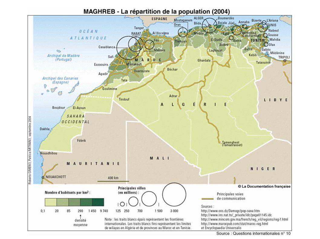 Algérie Maroc Tunisie Faibles densités (moins de 20 hab/km 2 ) Densités fortes (plus de 85 hab/Km 2 ) Densités moyennes (entre 20 et 85 hab/km 2 ) A) Un espace inégalement peuplé entre Mer Méditerranée et « mer de sable ».