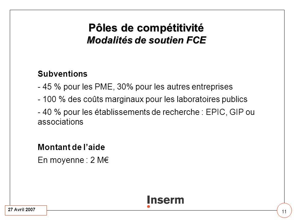27 Avril 2007 11 11 11 Pôles de compétitivité Modalités de soutien FCE Subventions - 45 % pour les PME, 30% pour les autres entreprises - 100 % des coûts marginaux pour les laboratoires publics - 40 % pour les établissements de recherche : EPIC, GIP ou associations Montant de laide En moyenne : 2 M
