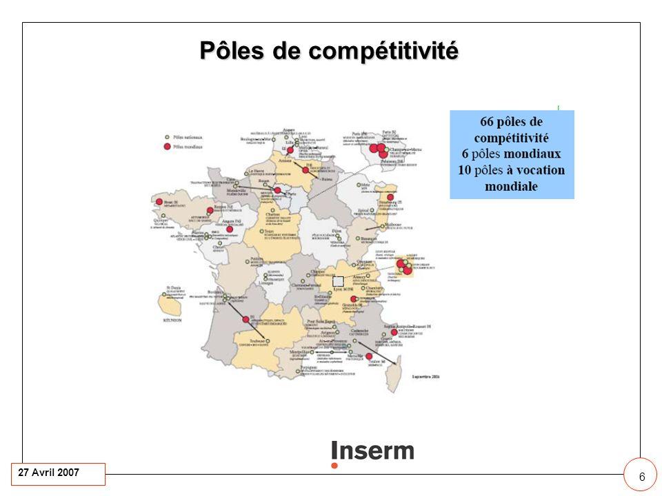 27 Avril 2007 6 6 11 Pôles de compétitivité