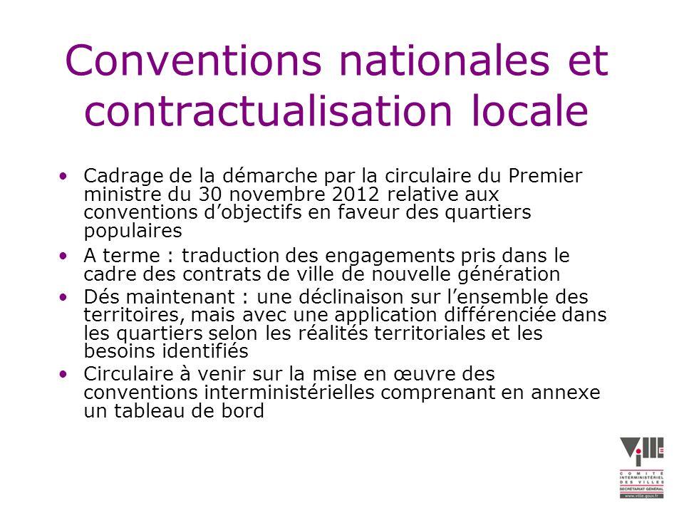État davancement (1) 10 conventions signées avec les ministères en charge de : –la jeunesse et les sports (4 avril 2013) ; –la santé et les affaires sociales (19 avril 2013) ; –lemploi (convention signée le 25 avril 2013 et note de transmission le 10 juin 2013) ; –les droits des femmes (21 mai 2013) ; –les transports (7 juin 2013) –la justice (8 juillet 2013) –la défense et les anciens combattants (15 juillet 2013) –lintérieur (27 septembre 2013) ; –léconomie sociale et solidaire (27 septembre 2013) ; –léducation (7 octobre 2013) ; 3 conventions interministérielles en cours : –culture ; –artisanat et commerce ; –enseignement supérieur et recherche.