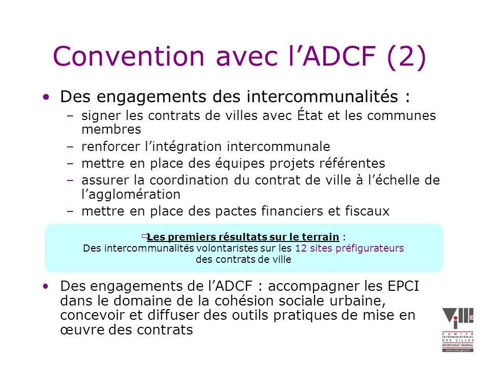 Convention avec lADCF (2) Des engagements des intercommunalités : –signer les contrats de villes avec État et les communes membres –renforcer lintégration intercommunale –mettre en place des équipes projets référentes –assurer la coordination du contrat de ville à léchelle de lagglomération –mettre en place des pactes financiers et fiscaux Des engagements de lADCF : accompagner les EPCI dans le domaine de la cohésion sociale urbaine, concevoir et diffuser des outils pratiques de mise en œuvre des contrats Les premiers résultats sur le terrain : Des intercommunalités volontaristes sur les 12 sites préfigurateurs des contrats de ville