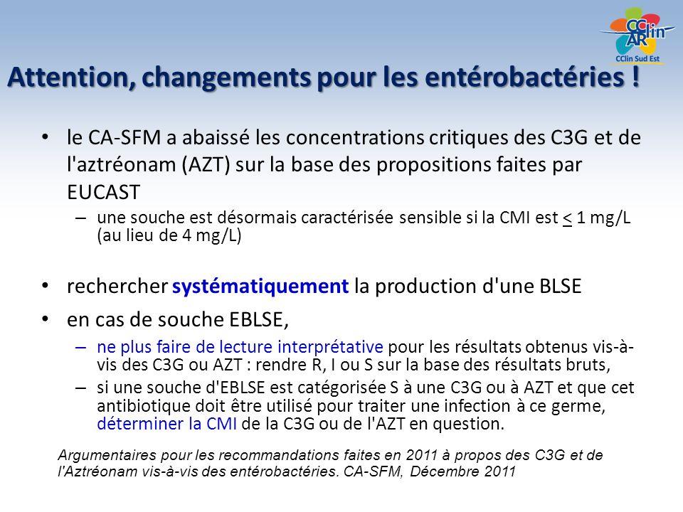 Attention, changements pour les entérobactéries ! le CA-SFM a abaissé les concentrations critiques des C3G et de l'aztréonam (AZT) sur la base des pro