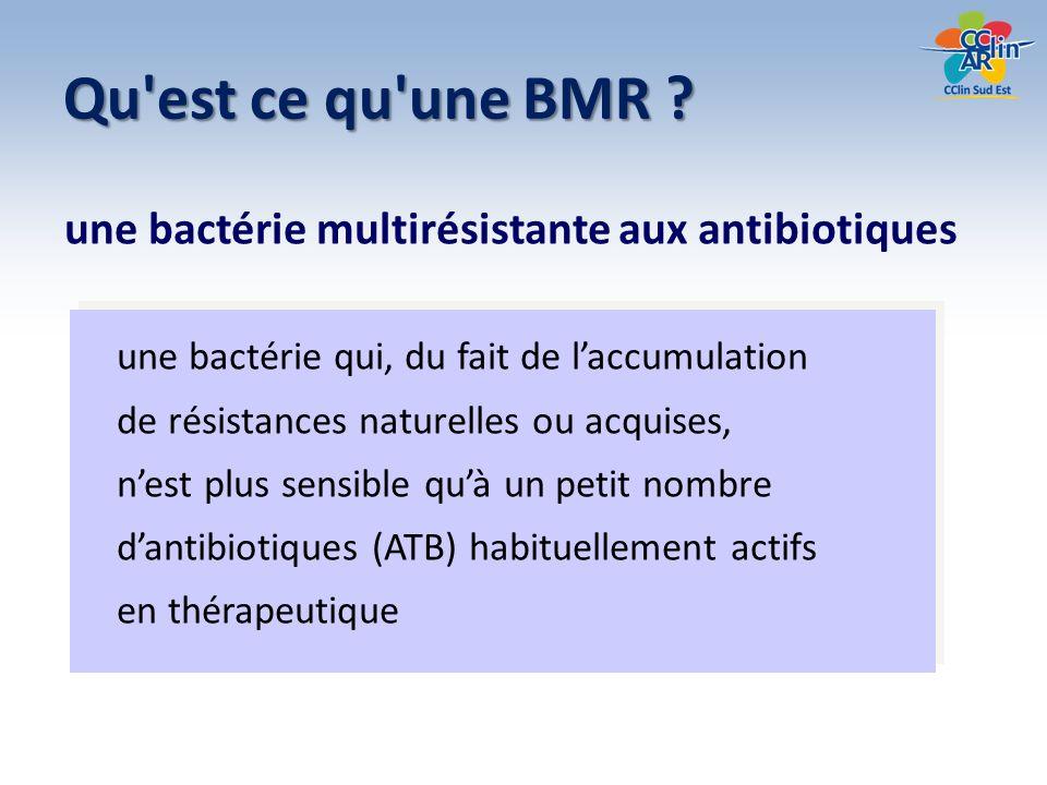 Dédoublonnage (définition) ne garder pour une cible donnée que une BMR par patient et par période Doublon = toute souche observée chez un patient pour lequel une souche de même espèce et de même antibiotype a déjà été prise en compte dans la période de l enquête, quel que soit le site de prélèvement à visée diagnostique dont elle a été isolée. On entend par même antibiotype l absence de différence majeure en terme de catégorie clinique de type S R ou R S pour les antibiotiques de la liste standard définie par le CA-SFM.