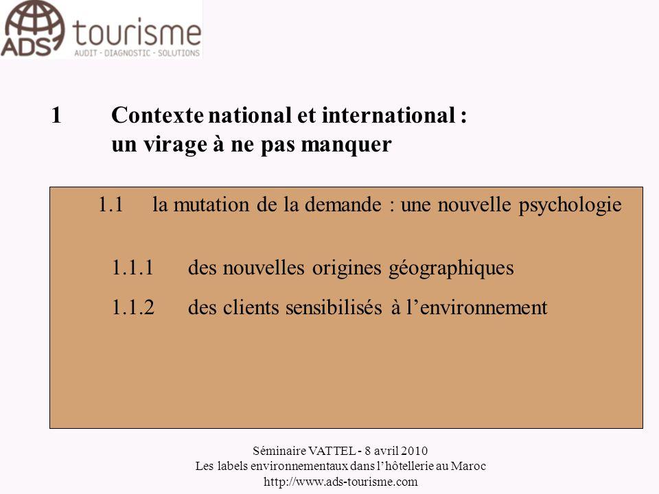 Séminaire VATTEL - 8 avril 2010 Les labels environnementaux dans lhôtellerie au Maroc http://www.ads-tourisme.com 2Label environnemental : un système de management particulier 2.3Objectifs 2.3.1Limiter limpact environnemental 2.3.2Améliorer ses performances économiques 2.3.2Obtenir la certification 2.3.4Communiquer