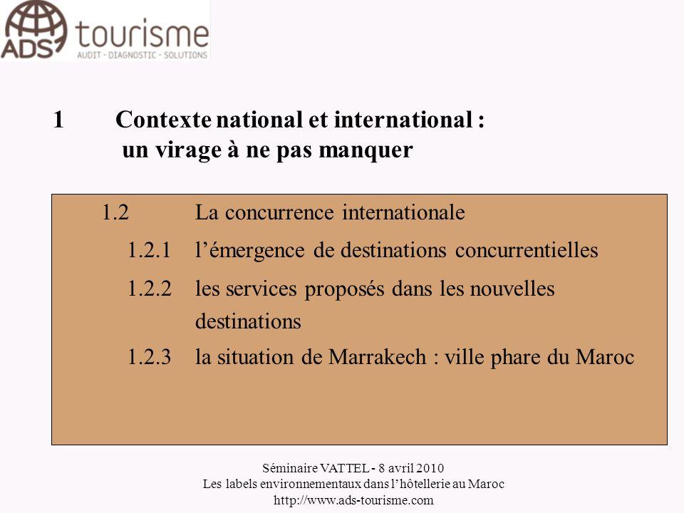 Séminaire VATTEL - 8 avril 2010 Les labels environnementaux dans lhôtellerie au Maroc http://www.ads-tourisme.com 1Contexte national et international
