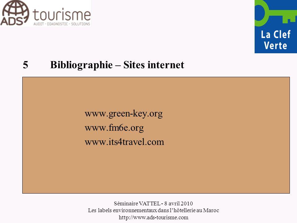 Séminaire VATTEL - 8 avril 2010 Les labels environnementaux dans lhôtellerie au Maroc http://www.ads-tourisme.com 5Bibliographie – Sites internet www.