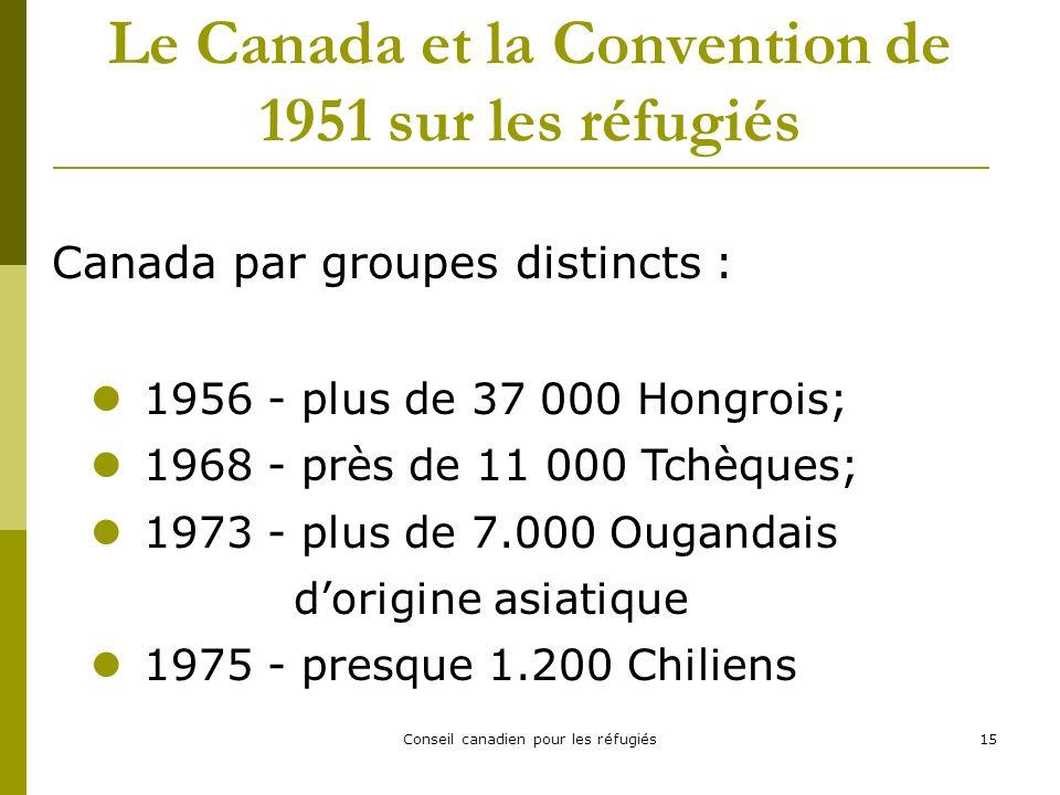 Conseil canadien pour les réfugiés15 Le Canada et la Convention de 1951 sur les réfugiés Canada par groupes distincts : 1956 - plus de 37 000 Hongrois; 1968 - près de 11 000 Tchèques; 1973 - plus de 7.000 Ougandais dorigine asiatique 1975 - presque 1.200 Chiliens