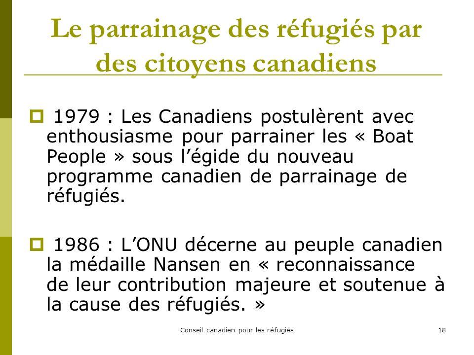 Conseil canadien pour les réfugiés18 Le parrainage des réfugiés par des citoyens canadiens 1979 : Les Canadiens postulèrent avec enthousiasme pour parrainer les « Boat People » sous légide du nouveau programme canadien de parrainage de réfugiés.