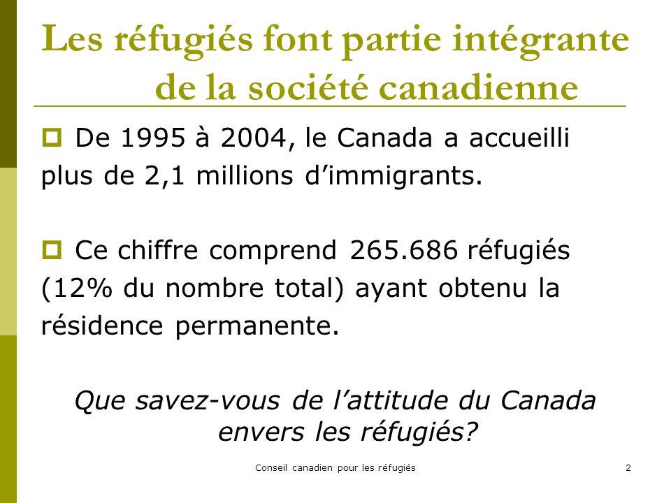 Conseil canadien pour les réfugiés2 Les réfugiés font partie intégrante de la société canadienne De 1995 à 2004, le Canada a accueilli plus de 2,1 millions dimmigrants.