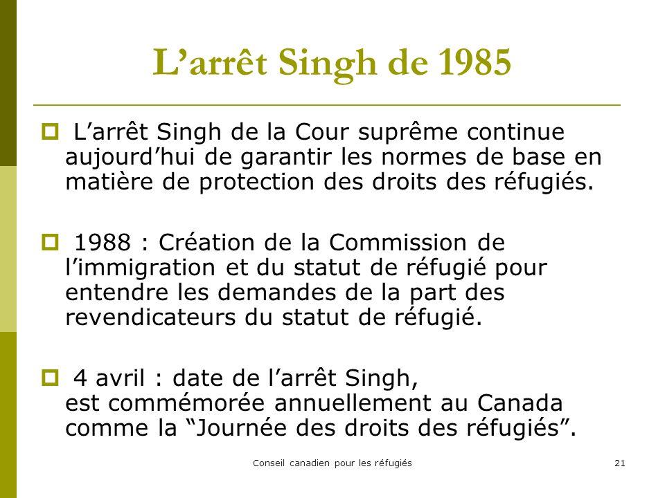 Conseil canadien pour les réfugiés21 Larrêt Singh de 1985 Larrêt Singh de la Cour suprême continue aujourdhui de garantir les normes de base en matière de protection des droits des réfugiés.