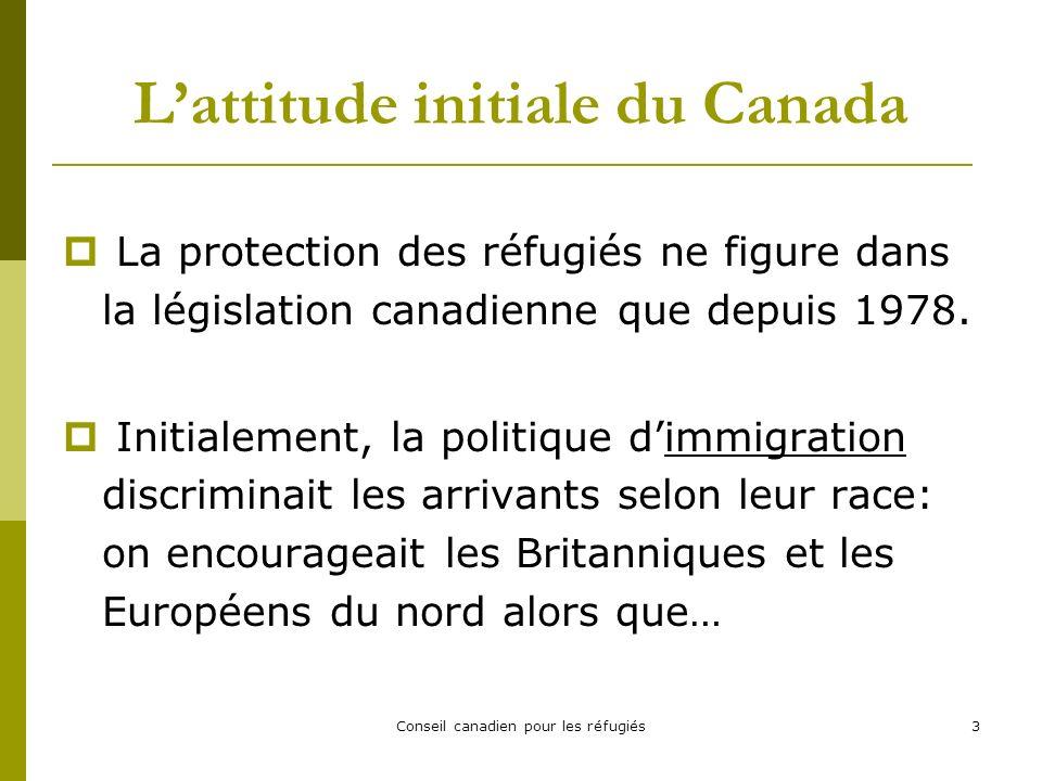 Conseil canadien pour les réfugiés14 Le Canada et la Convention de 1951 sur les réfugiés Le Canada na pas signé la Convention (et son protocole) avant 1969 (La GRC sy opposait, croyant que la Convention restreindrait le droit du Canada de déporter des réfugiés pour des raisons de sécurité.) Avant 1969, les réfugiés étaient sélectionnés outre-mer et admis au...