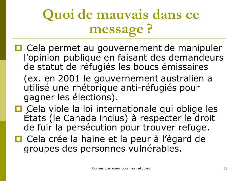 Conseil canadien pour les réfugiés35 Quoi de mauvais dans ce message .