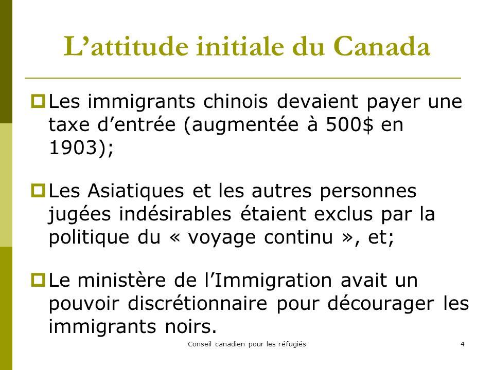 Conseil canadien pour les réfugiés25 Interception de réfugiés (2) En 2001, le gouvernement australien refusa laccès à ses côtes aux demandeurs dasile irakiens et afghans et, plus tard, il essaya de les discréditer en les accusant davoir jeté leurs enfants par- dessus bord.