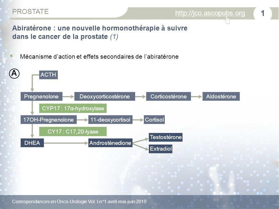 Correspondances en Onco-Urologie Vol. I-n°1-avril-mai-juin 2010 PROSTATE http://jco.ascopubs.org 1 Abiratérone : une nouvelle hormonothérapie à suivre