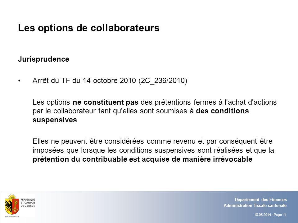 18.05.2014 - Page 11 Administration fiscale cantonale Département des Finances Les options de collaborateurs Jurisprudence Arrêt du TF du 14 octobre 2