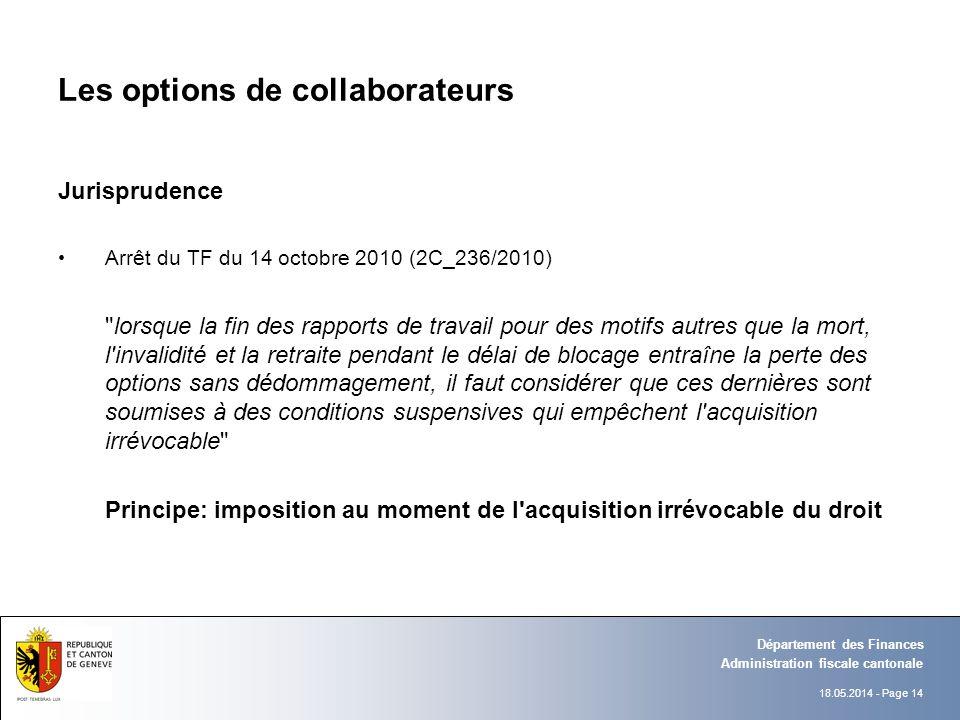 18.05.2014 - Page 14 Administration fiscale cantonale Département des Finances Les options de collaborateurs Jurisprudence Arrêt du TF du 14 octobre 2