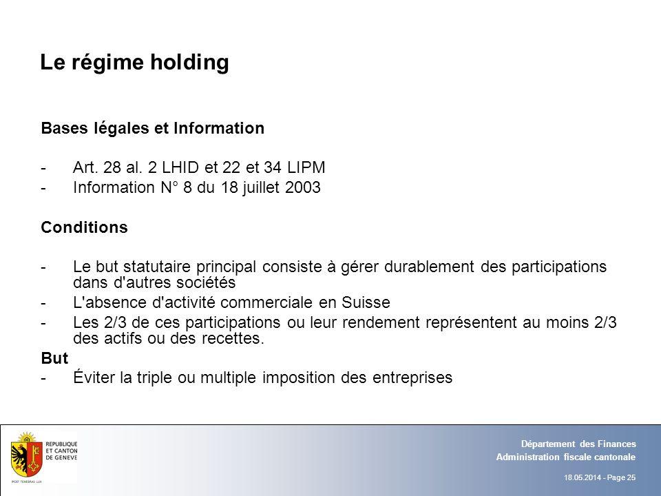 18.05.2014 - Page 25 Administration fiscale cantonale Département des Finances Le régime holding Bases légales et Information -Art. 28 al. 2 LHID et 2