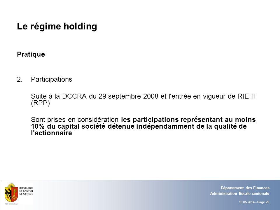 18.05.2014 - Page 29 Administration fiscale cantonale Département des Finances Le régime holding Pratique 2.Participations Suite à la DCCRA du 29 sept