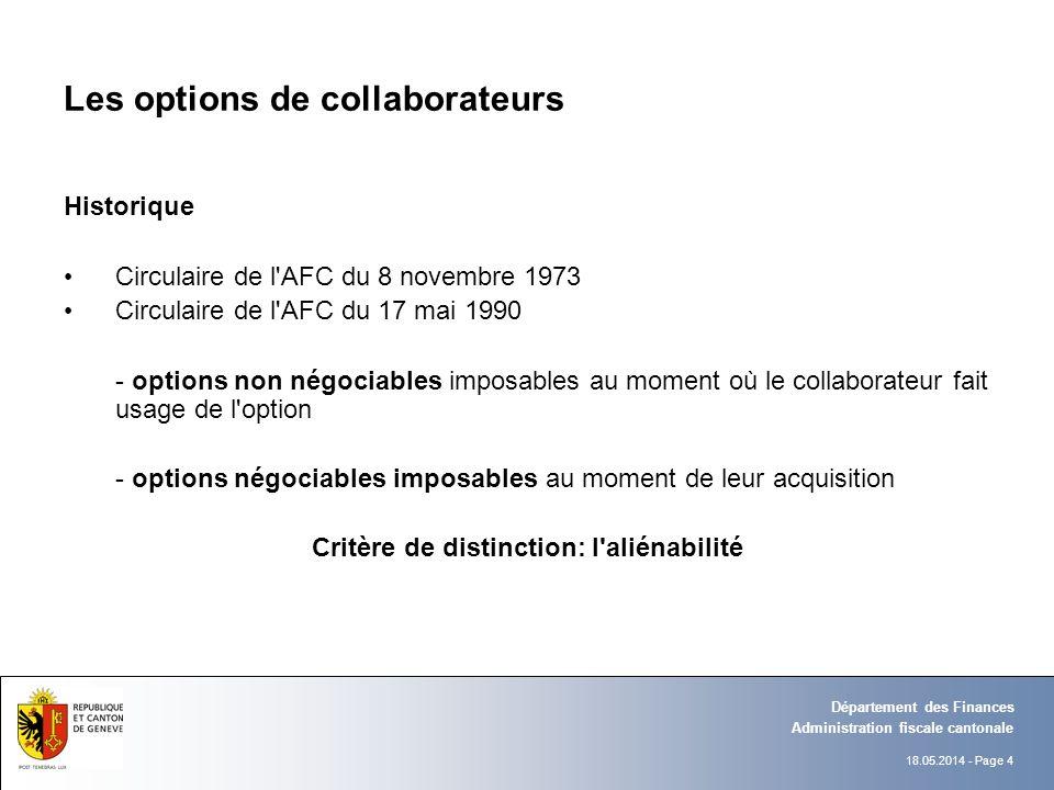 18.05.2014 - Page 4 Administration fiscale cantonale Département des Finances Les options de collaborateurs Historique Circulaire de l'AFC du 8 novemb