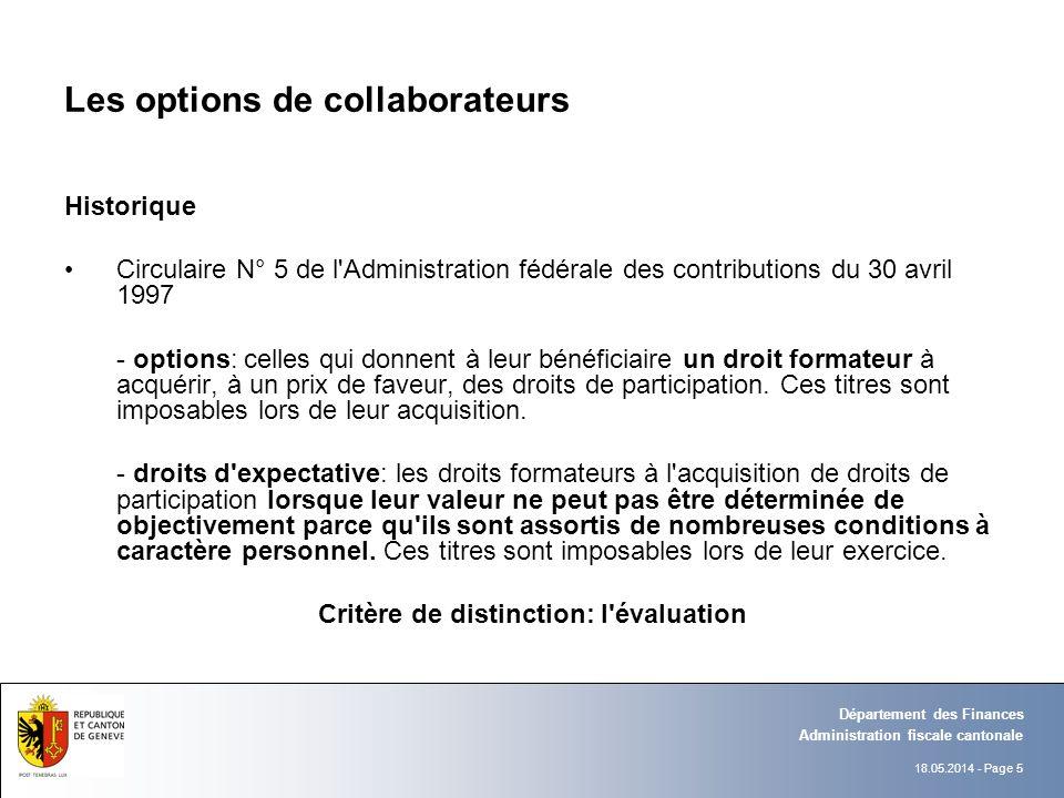 18.05.2014 - Page 5 Administration fiscale cantonale Département des Finances Les options de collaborateurs Historique Circulaire N° 5 de l'Administra