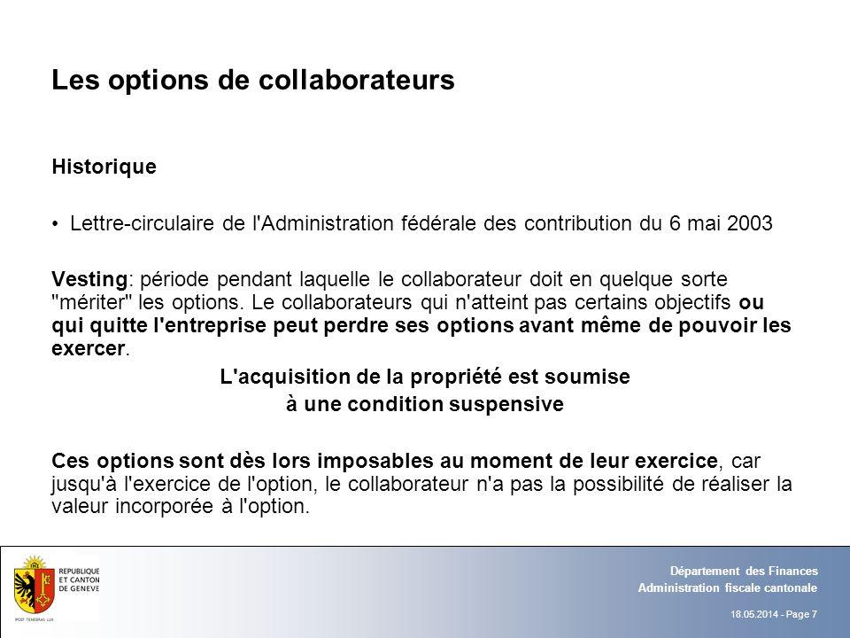 18.05.2014 - Page 7 Administration fiscale cantonale Département des Finances Les options de collaborateurs Historique Lettre-circulaire de l'Administ
