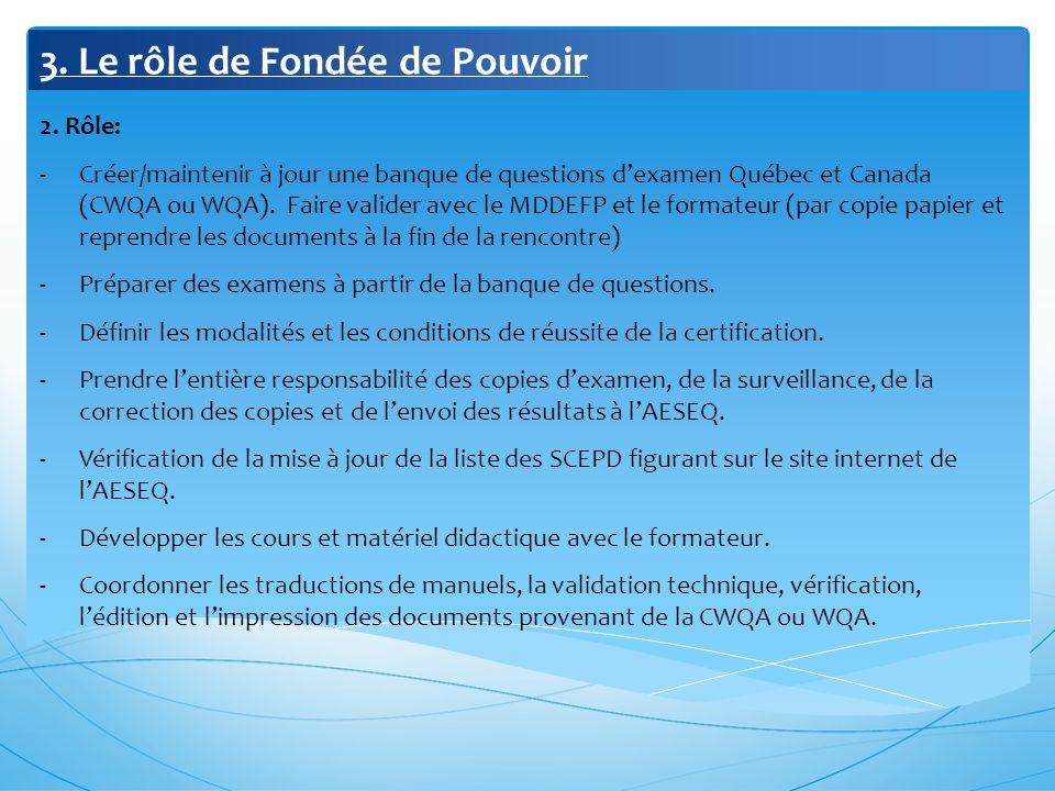 3. Le rôle de Fondée de Pouvoir 2. Rôle: -Créer/maintenir à jour une banque de questions dexamen Québec et Canada (CWQA ou WQA). Faire valider avec le