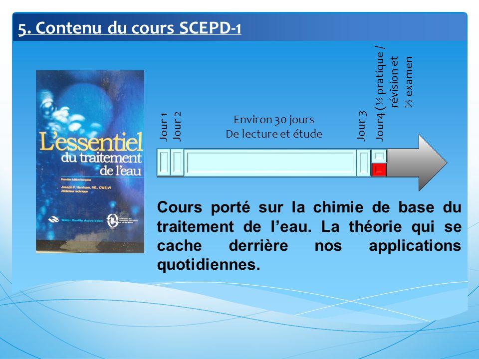 5. Contenu du cours SCEPD-1 Jour 1 Jour 2 Jour 3 Jour4 (½ pratique / révision et ½ examen Environ 30 jours De lecture et étude Cours porté sur la chim