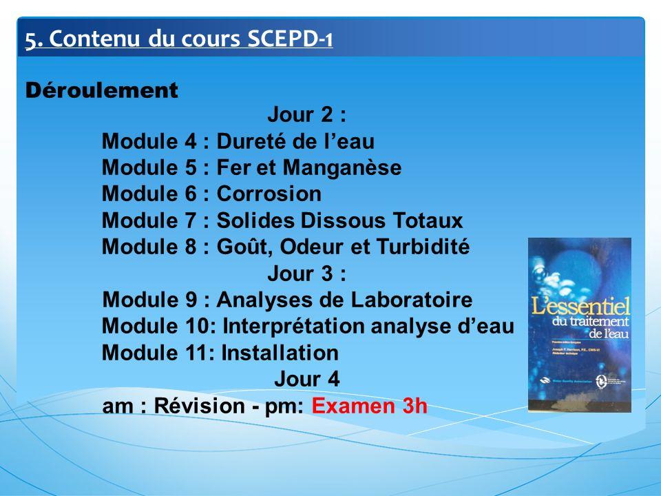 5. Contenu du cours SCEPD-1 Déroulement Jour 2 : Module 4 : Dureté de leau Module 5 : Fer et Manganèse Module 6 : Corrosion Module 7 : Solides Dissous