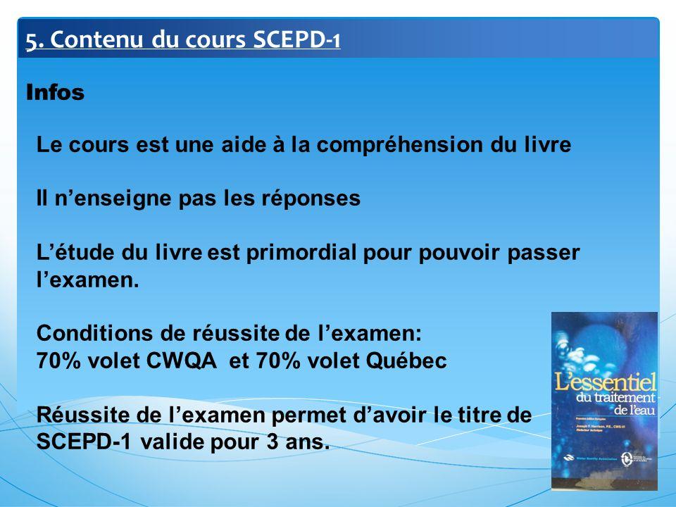 5. Contenu du cours SCEPD-1 Infos Le cours est une aide à la compréhension du livre Il nenseigne pas les réponses Létude du livre est primordial pour