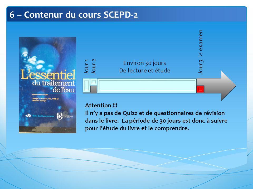6 – Contenur du cours SCEPD-2 Jour 1 Jour 2 Jour3 ½ examen Environ 30 jours De lecture et étude Attention !!! Il ny a pas de Quizz et de questionnaire