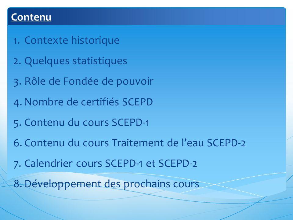 Contenu 1.Contexte historique 2.Quelques statistiques 3.Rôle de Fondée de pouvoir 4.Nombre de certifiés SCEPD 5.Contenu du cours SCEPD-1 6.Contenu du cours Traitement de leau SCEPD-2 7.Calendrier cours SCEPD-1 et SCEPD-2 8.Développement des prochains cours