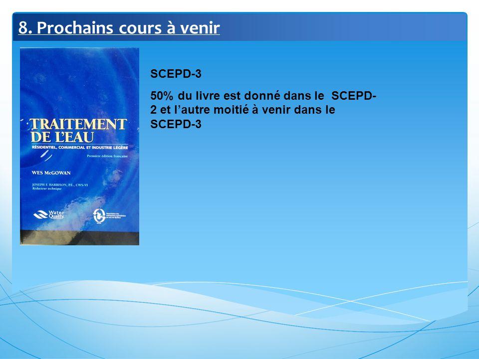 8. Prochains cours à venir SCEPD-3 50% du livre est donné dans le SCEPD- 2 et lautre moitié à venir dans le SCEPD-3