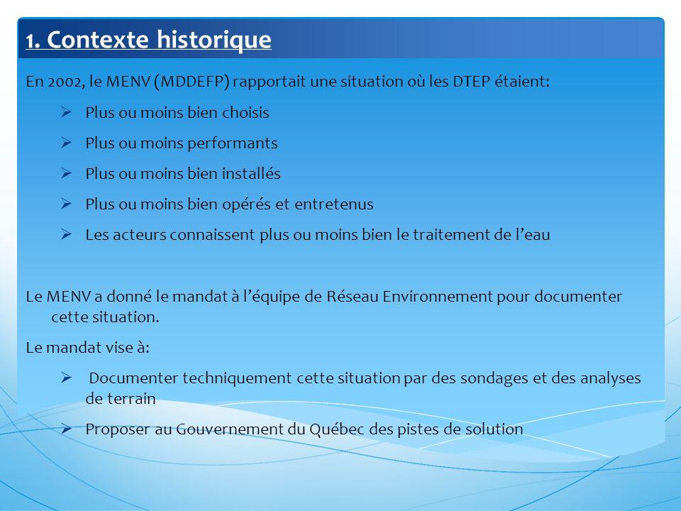 1. Contexte historique En 2002, le MENV (MDDEFP) rapportait une situation où les DTEP étaient: Plus ou moins bien choisis Plus ou moins performants Pl
