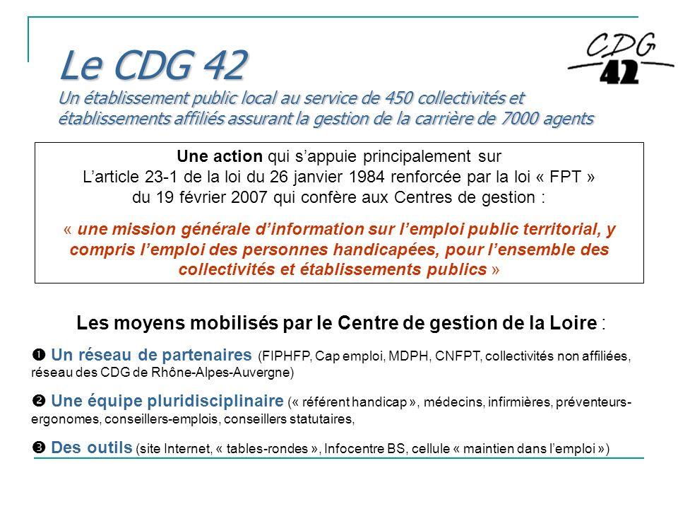 Le CDG 42 Un établissement public local au service de 450 collectivités et établissements affiliés assurant la gestion de la carrière de 7000 agents U