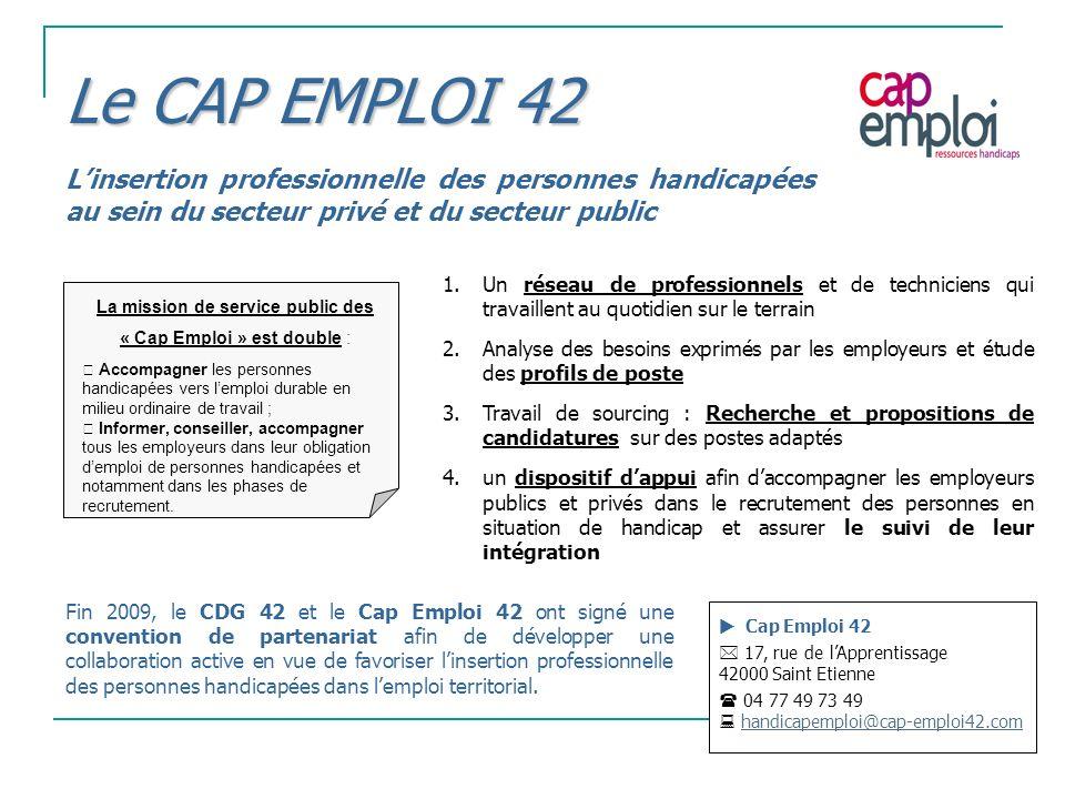 Le CAP EMPLOI 42 Linsertion professionnelle des personnes handicapées au sein du secteur privé et du secteur public Cap Emploi 42 17, rue de lApprenti