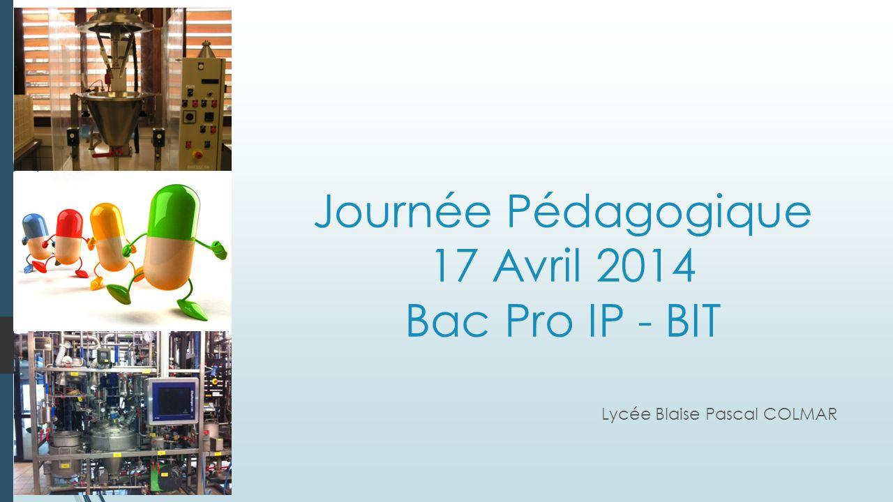 Journée Pédagogique 17 Avril 2014 Bac Pro IP - BIT Lycée Blaise Pascal COLMAR