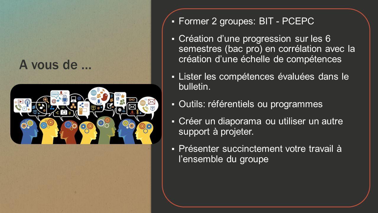 A vous de … Former 2 groupes: BIT - PCEPC Création dune progression sur les 6 semestres (bac pro) en corrélation avec la création dune échelle de comp