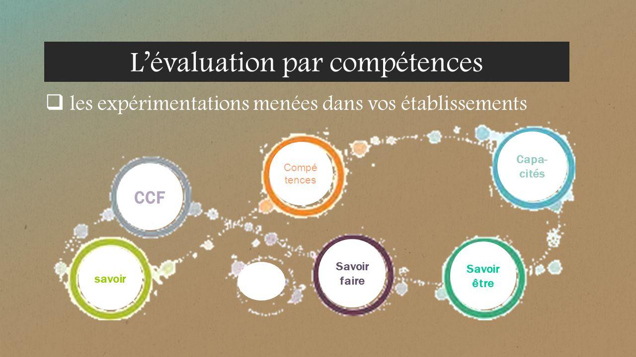 les expérimentations menées dans vos établissements CCF Compé tences Capa- cités savoir Savoir faire Savoir être P