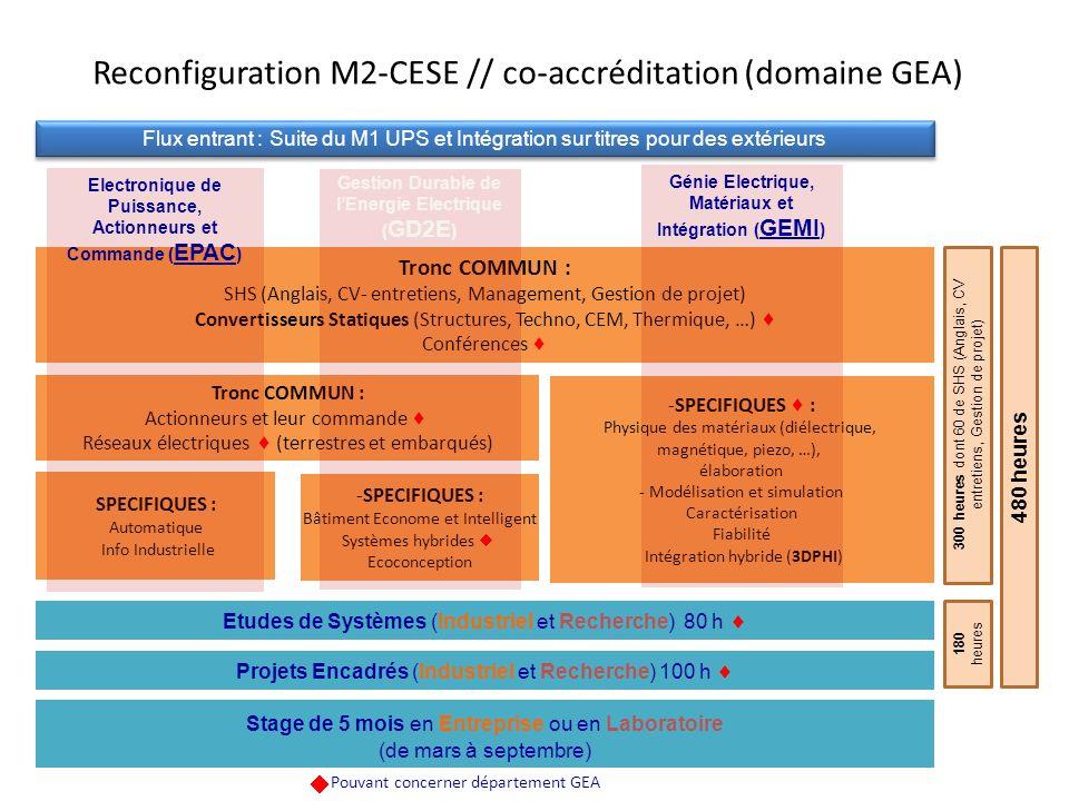 Tronc COMMUN : SHS (Anglais, CV- entretiens, Management, Gestion de projet) Convertisseurs Statiques (Structures, Techno, CEM, Thermique, …) Conférenc