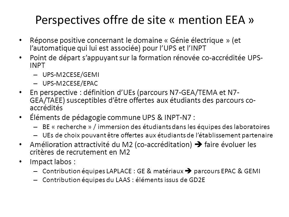 Perspectives offre de site « mention EEA » Réponse positive concernant le domaine « Génie électrique » (et lautomatique qui lui est associée) pour lUP