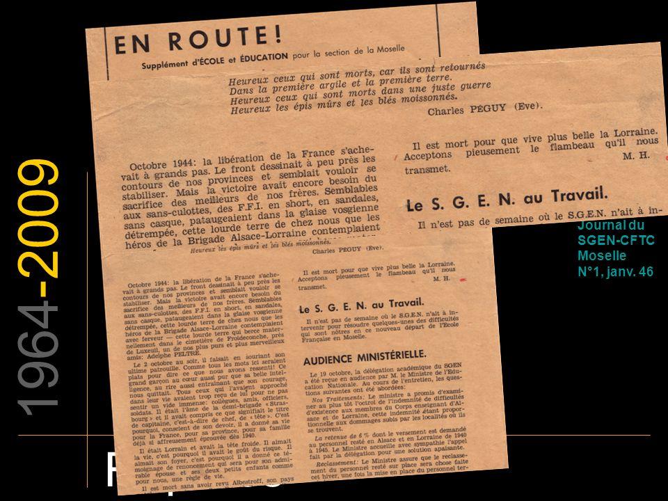 1964-2009 Repères EN ROUTE Journal du SGEN-CFTC Moselle N°1, janv. 46