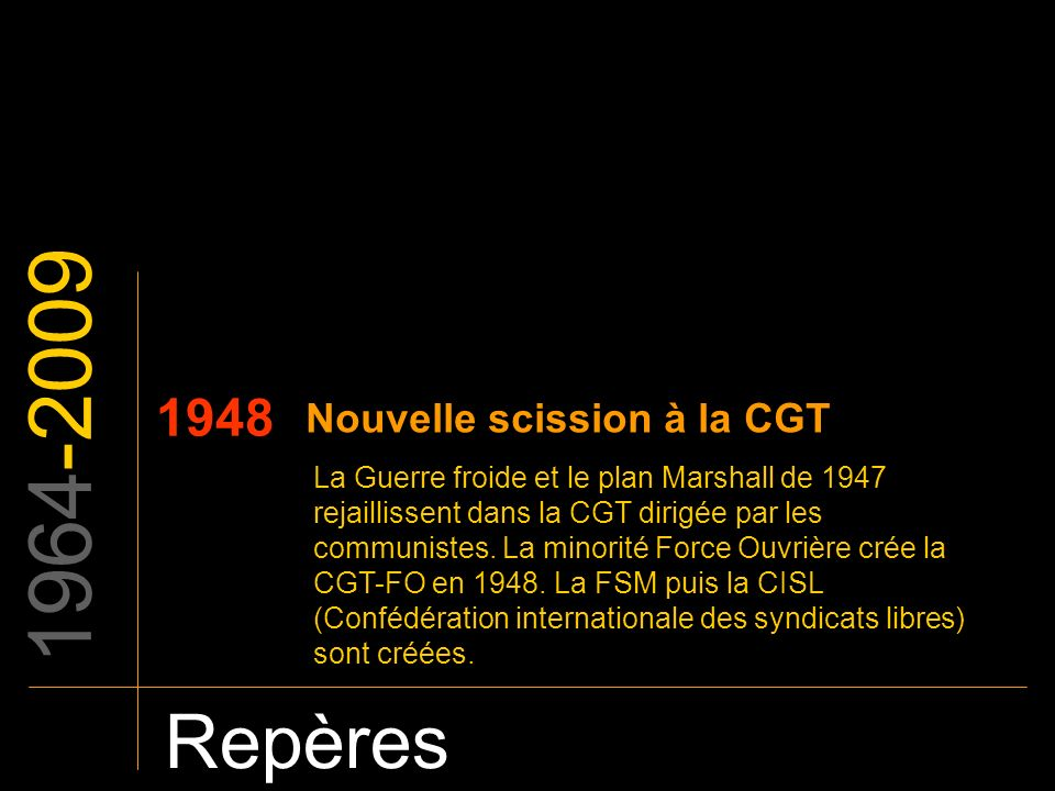 1964-2009 Repères 1948 La Guerre froide et le plan Marshall de 1947 rejaillissent dans la CGT dirigée par les communistes. La minorité Force Ouvrière