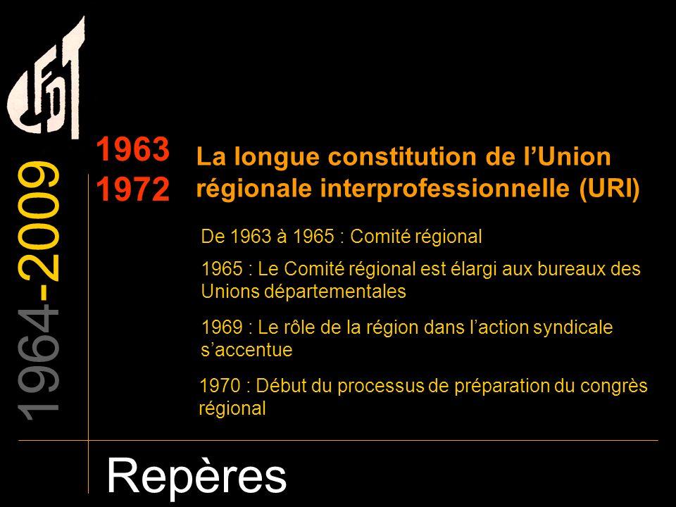 1964-2009 Repères 1963 1972 La longue constitution de lUnion régionale interprofessionnelle (URI) De 1963 à 1965 : Comité régional 1965 : Le Comité ré