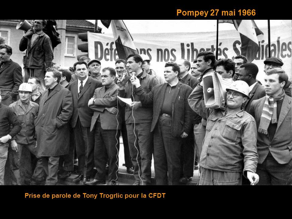 Pompey 27 mai 1966 Prise de parole de Tony Trogrlic pour la CFDT
